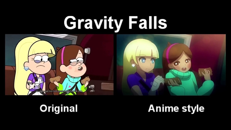 Gravity Falls Original vs Anime style video Грэвити Фоллс оригинал и в стиле аниме