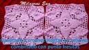 Cuadrado a crochet Hojitas en relieves combinado con puntos fresitas para mantitas de bebe
