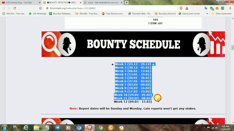 Juiice token total bounty 1 250 000 000 JUI The program will run until 15.03.2020
