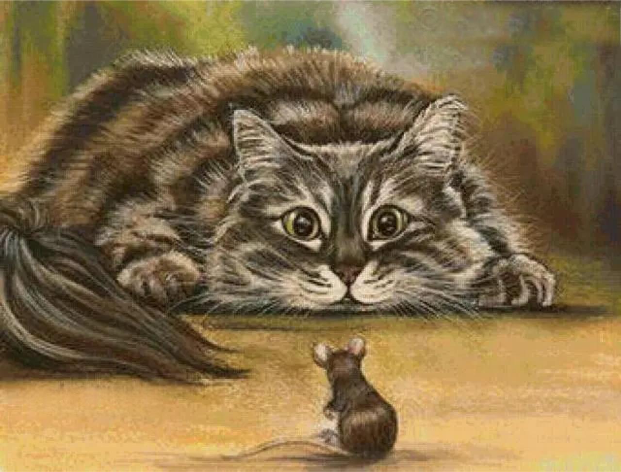 картинки про кошку и мышку поздравительные картинки
