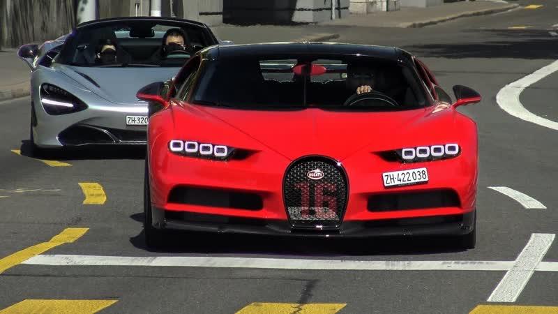 Суперкары в Цюрихе Chiron Sport SLR GT2 720s GT3RS 488 Pista 812 F12 Aventador