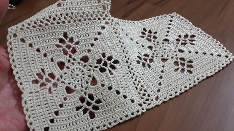 Tığ işi Örgü Masa Örtüsü Dantel Motifi Yapımı Crochet tablecloth