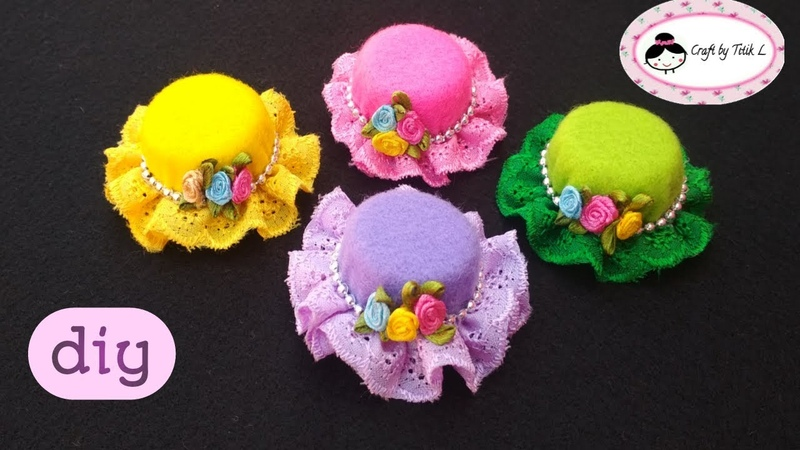 DIY How to Make Mini Hat Brooch from Felt Cara Membuat Bros Topi dari Kain Flanel