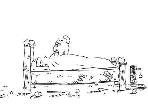 Кот Саймона будит хозяина
