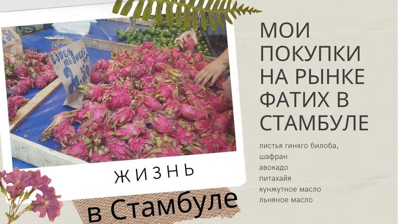 Мои покупки с рынка Фатих листья гинкго билоба шафран авокадо питахайя кунжутное льняное масло