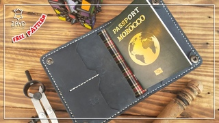 [Leather Craft] Making a Handmade Leather Passport Wallet - Free PDF pattern