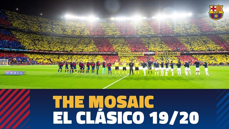 The Camp Nou's incredible mosaic and anthem before the Clásico 19/20