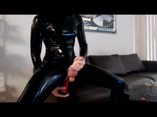 Ella hollywood older fun latex dildo play [trap, transgender, solo, self facial, cumshot]