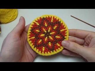 Жаккард крючком по кругу в технике Bricks crochet
