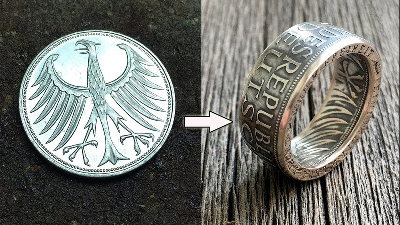 Turning Simple Coin into an Amazing Ring How It's Made Münzring Silber Deutsche Münze 5 Mark
