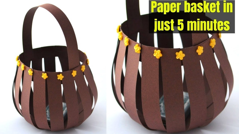 Super Easy paper basket using paper strips | Quick Paper Basket making | Craftsbyanu