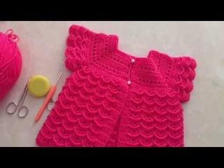 Tığ işi Bebek yeleği yıpılışı karnabahar Modelli