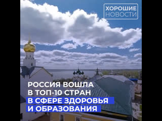 Россия вошла в топ-10 стран в сфере здоровья и образования