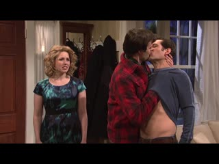 Kissing family. austin brings his girlfriend home for christmas (snl)