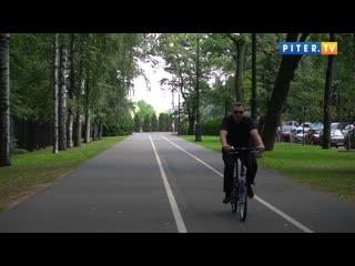 Экспериментальная велополоса на Крестовском острове