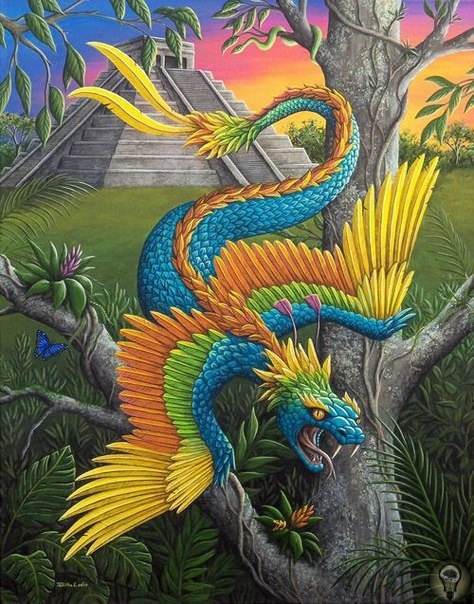 КУКУЛЬКАН. Кукулькан (Guumatz) - крылатый змей, в мифологии майя - одно из главных божеств. Кукулькан - бог четырех Святых Даров - огня, земли, воздуха и воды; и каждый элемент был связан с