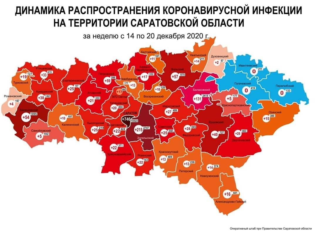 Оперативный штаб подготовил карту динамики прироста случаев коронавируса за неделю с 14 по 20 декабря по муниципалитетам Саратовской области