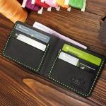 Мужской кожаный бумажник ручной работы VOILE mw1-blk-grn