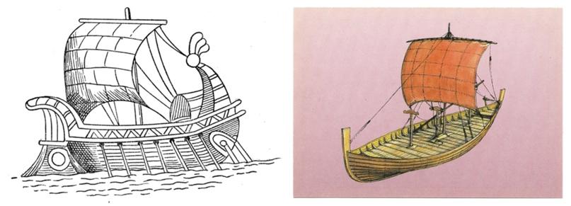 Вот такие у нас есть изображения кораблей венетов, что, канешно, за уши притянуто всё. Но можно предположить что были они этакими протодраккарами, на которых через тысячу лет викинги захарасят вообще всё до чего смогут на них доплыть.