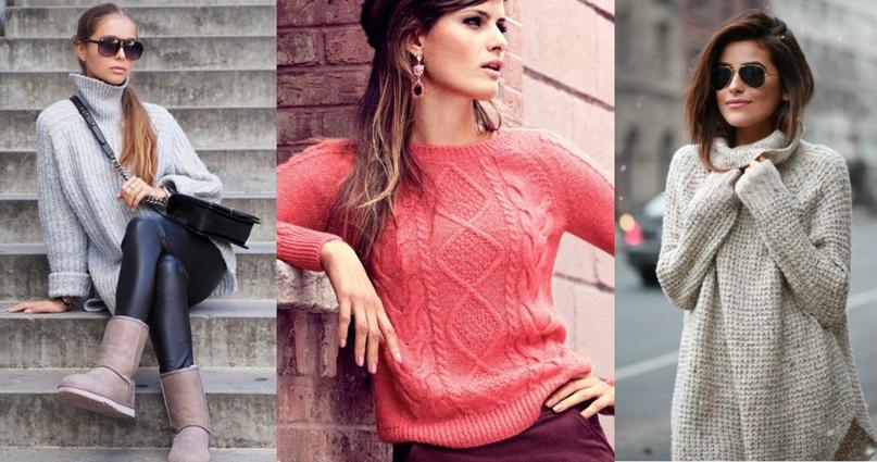 Вязаные свитера и платья