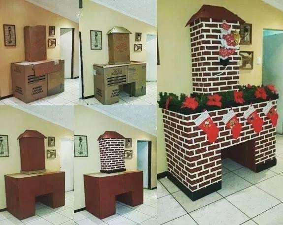 Как сделать новогодний камин из коробок и картона, изображение №7