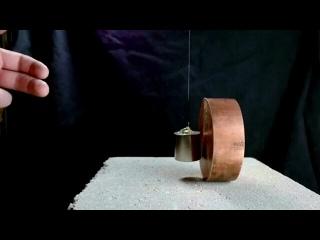 Интересное взаимодействие меди и магнита. Медь создает сопротивление в присутствии сильного магнитного поля, что приводит к по