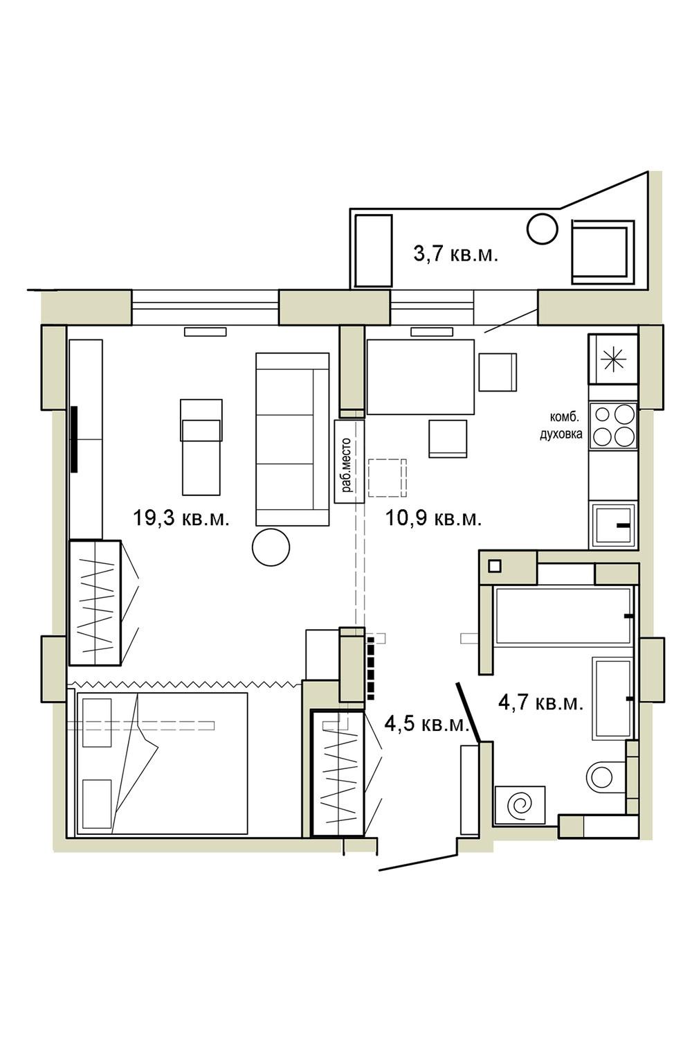 Дизайн студийной квартиры 39 кв.