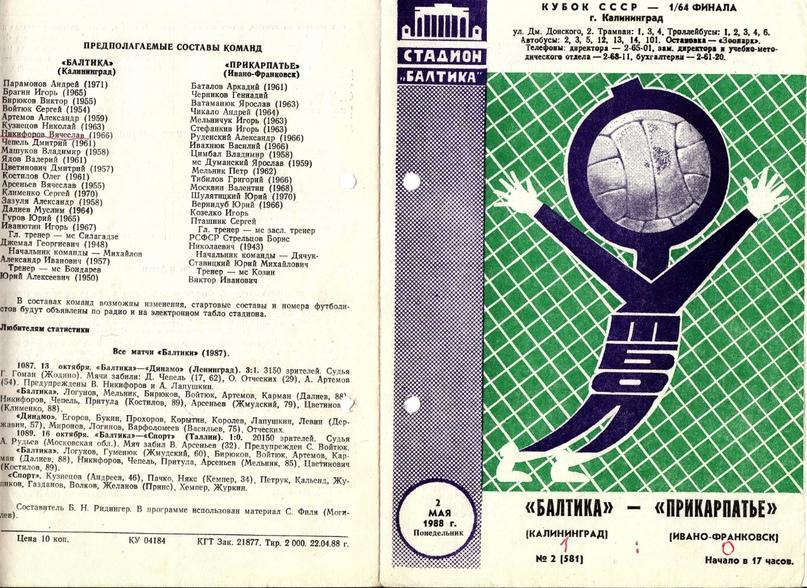 1988 год. Лицевая сторона программки кубкового матча