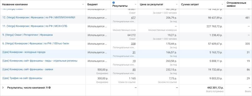 Результаты всей рекламной кампании за 12 месяцев