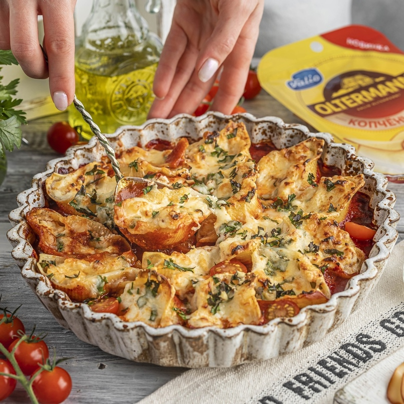 Ракушки с копченым сыром и рикоттой 🧀