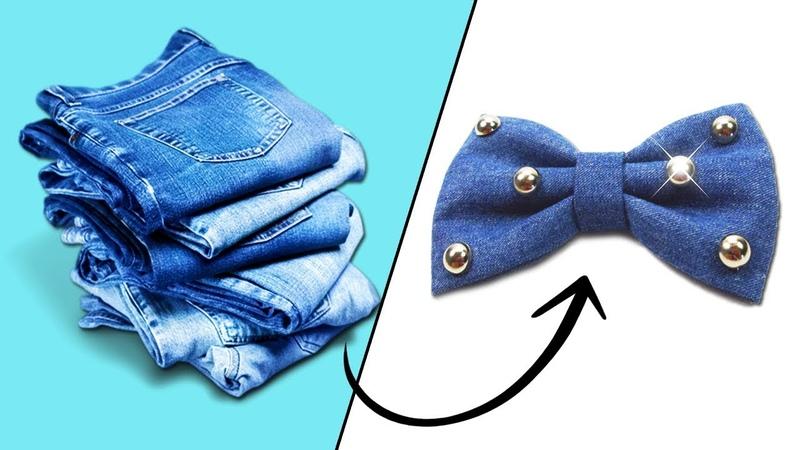 3 Lazos y Accesorios para niñas con Jeans Manualidades Recicladas Ecobrisa