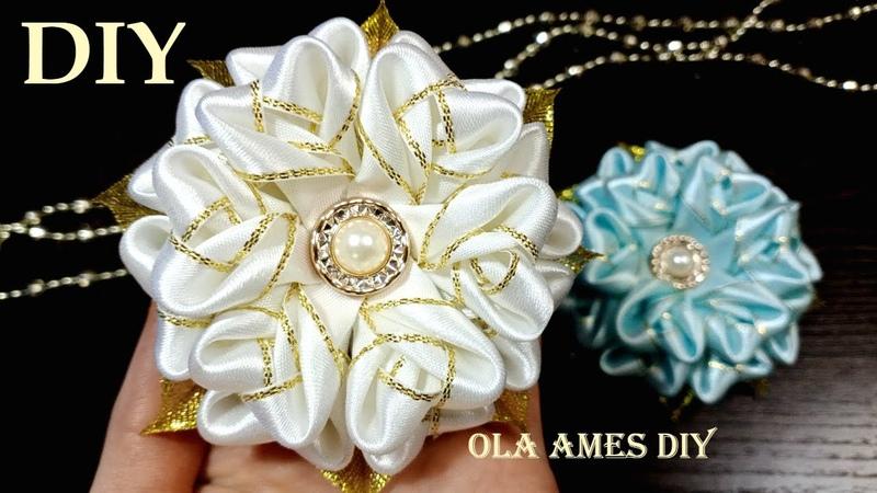 Таких Цветов Вы еще не Делали Посмотрите какие КРАСИВЫЕ ЦВЕТЫ из ЛЕНТ DIY Ribbon Flowers Ola ameS