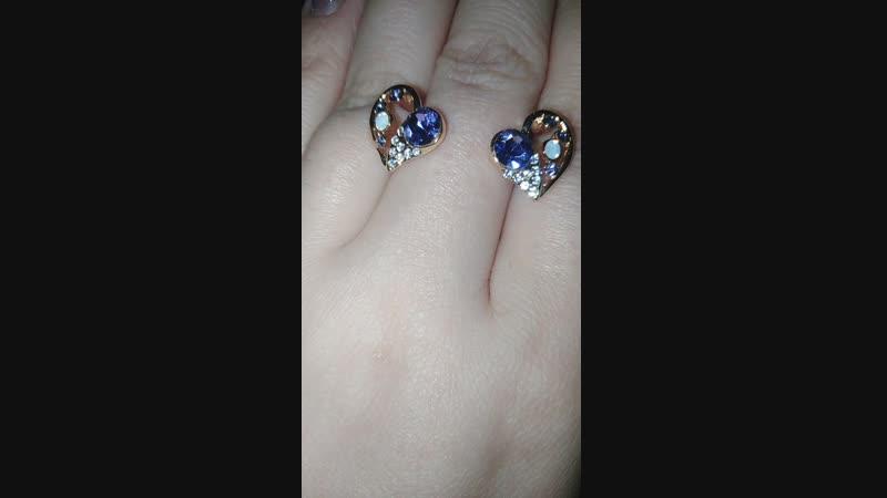 Серьги Сердечко с оригинальными кристаллами Swarovski