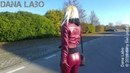 DANA LABO - the woman in red leather, catwalk in boots, gloves, jacket and leggings,