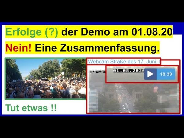 Erfolge der Demo am 01.08.20 in Berlin Nein!
